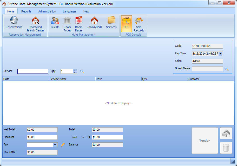 Hotel Management System Full Board +Restaurant Version POS Section ScreenShot