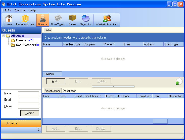 Hotel Reservation System Lite Version Guests Section ScreenShot