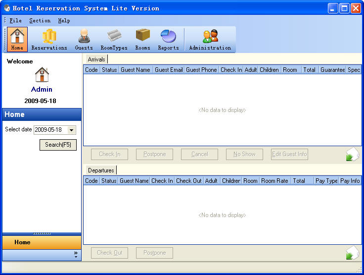 Hotel Reservation System Lite Version Home Section ScreenShot