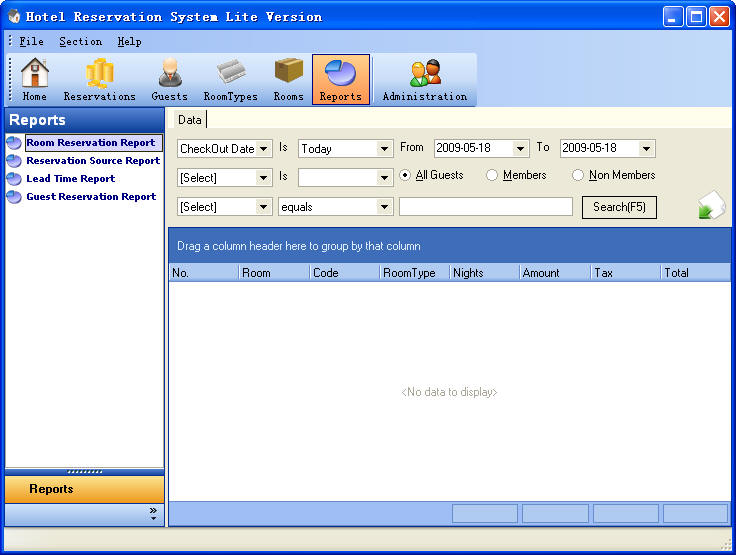 Hotel Reservation System Lite Version Reports Section ScreenShot