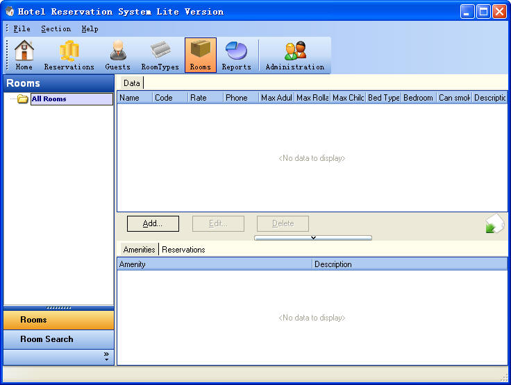Hotel Reservation System Lite Version Rooms Section ScreenShot