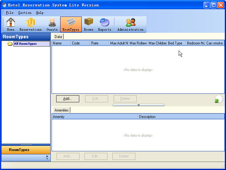 Hotel Reservation System Lite Version RoomTypes Section ScreenShot